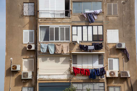 Tel Aviv, Israel - April 13, 2019: Exterior View of a Residential Apartment Building in the City.