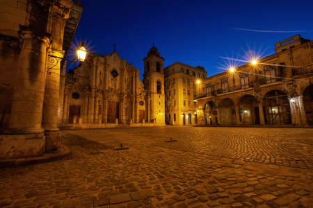 Beautiful view of The Cathedral of the Virgin Mary the Cathedral Plaza in Havana, Capital of Cuba, during a vibrant sunny sunrise.