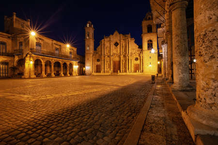 Beautiful view of The Cathedral of the Virgin Mary the Cathedral Plaza in Havana, Capital of Cuba, during night time before sunrise. Stok Fotoğraf