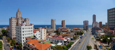 Aerial Panoramic view of the Havana City, Capital of Cuba, during a bright and sunny day.