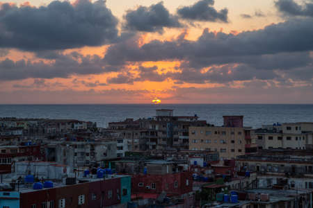 Aerial view of the residential neighborhood in the Havana City, Capital of Cuba, during a colorful sunset. Stok Fotoğraf