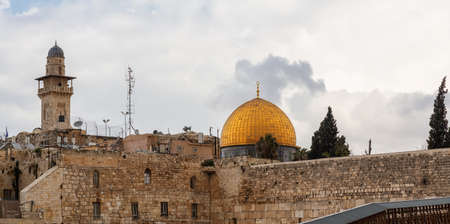 Panoramic View of the Dome of the Rock and the Western Wall in the Old City during a cloudy day. Taken in Jerusalem, Israel.