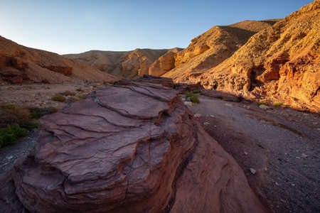 Beautiful landscape view of the Red Canyon in Eilat, Israel. Taken during a sunny sunrise.