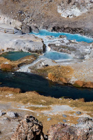 Aerial view of natural Hot Springs at Hot Creek Geological Site. Located near Mammoth Lakes, California, United States.