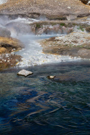 View of natural Hot Springs at Hot Creek Geological Site. Located near Mammoth Lakes, California, United States.