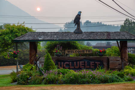 Welcome sign to Ucluelet. Small town located on the West Coast of Vancouver Island, British Columbia, Canada.