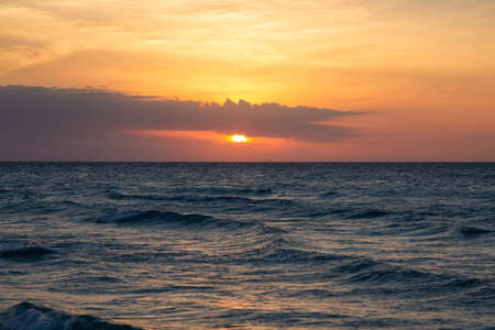 Beautiful dramatic sunset over the Caribbean Sea. Taken in Varadero, Cuba.