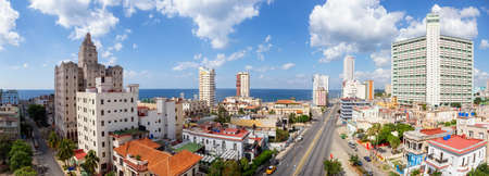 Aerial Panoramic view of the Old Havana City, Capital of Cuba, during a cloudy day.