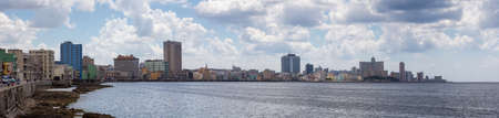 Panoramic view of the Old Havana City, Capital of Cuba, during a cloudy day.