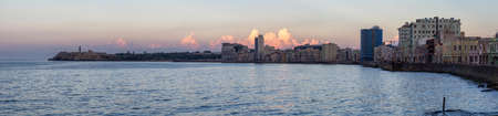 Panoramic view of the Old Havana City, Capital of Cuba, during a colorful cloudy sunset. Stock Photo