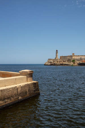 Beautiful view of the Lighthouse in the Old Havana City, Capital of Cuba, during a vibrant sunny day. Stock Photo