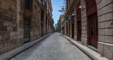 Panoramic Street view of the Old Havana City, Capital of Cuba, during a bright and sunny day. Banco de Imagens