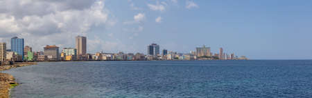Panoramic view of the Old Havana City, Capital of Cuba, during a sunny and cloudy day.