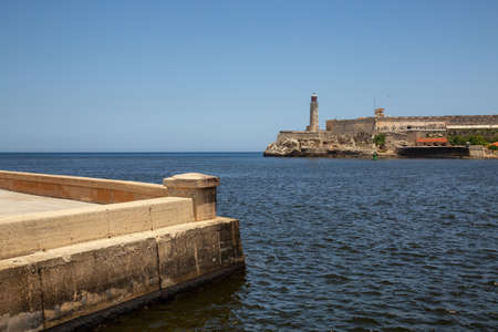 Beautiful view of the Lighthouse in the Old Havana City, Capital of Cuba, during a vibrant sunny day. Banco de Imagens