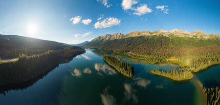 Beautiful, Serene Panoramic Mountain and Island Lake View on a Summer Day. Aerial shot near Pine Le Moray, and Powder King Moutain. John-Hart Highway, British Columbia. Stock fotó