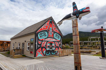 Carcross, Yukon, Canada - August 23, 2020: Indigenous Art in a small touristic town.
