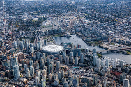 Aerial view of the City Buildings in Vancouver Downtown , British Columbia, Canada. Modern Cityscape 版權商用圖片