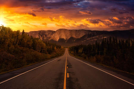 View of Scenic Road surrounded by Trees and Rocky Mountains on a Cloudy Fall Season in Canadian Nature. Colorful Sunset Artistic Render. Taken near Whitehorse, Yukon, Canada.