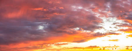 Beautiful Panoramic View of colorful cloudscape during dramatic sunset. Taken in White Rock, Vancouver, British Columbia, Canada.