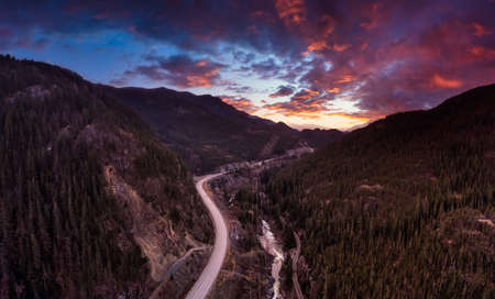 Aerial Panoramic View of the Famous Scenic Drive, Sea to Sky Highway, during a colorful sunrise. Located between Squamish and Whistler, North of Vancouver, British Columbia, Canada. 版權商用圖片