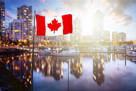 Canadian National Flag Overlay. False Creek, Vancouver, British Columbia, Canada. Beautiful View of the Marina with boats and a modern Downtown City Buildings. Colorful Sunrise Twilight Sky. 版權商用圖片