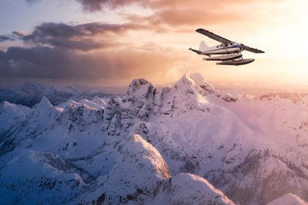 Airplane flying near the beautiful mountain nature 版權商用圖片