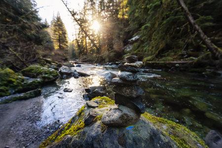 Stack of Rocks by the beautiful river 版權商用圖片