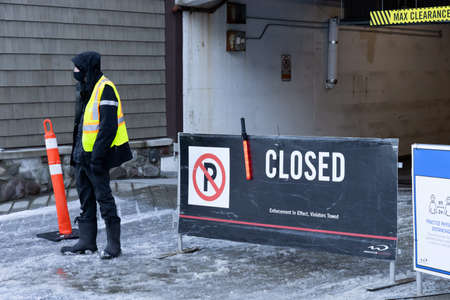 Whistler, British Columbia, Canada - December 28, 2020: Parking Lot Full and Closed to Ski Resort during the Busy Holiday Season.