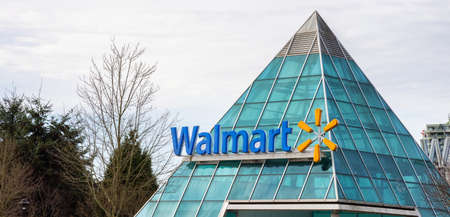 Surrey, British Columbia, Canada - December 23, 2020: Walmart Sign at the Guildford Town Centre Shopping Mall.