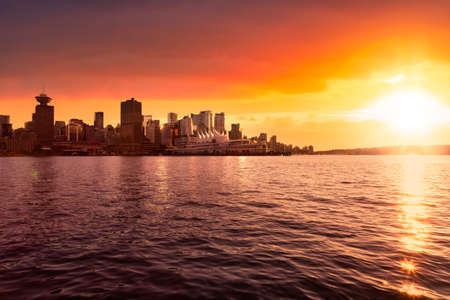 Commercial buildings and Cityscape Skyline of Downtown Vancouver Viewed from water. Modern Architecture in Urban City on West Coast of British Columbia, Canada. Sunset Sky Art Render