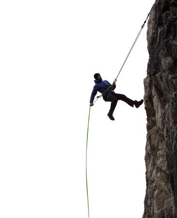 Epic Adventurous Extreme Sport Composite of Rock Climbing Man Rappelling from a Cliff. Perfect for Image Composites. Graphic Resource.