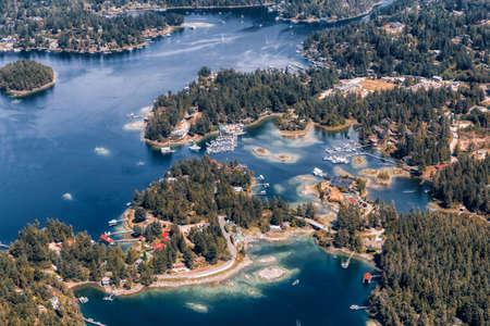 Sunshine Coast, British Columbia, Canada. Aerial View of Beaver Island and Madeira Park during a sunny and hazy summer morning. Art Render 版權商用圖片