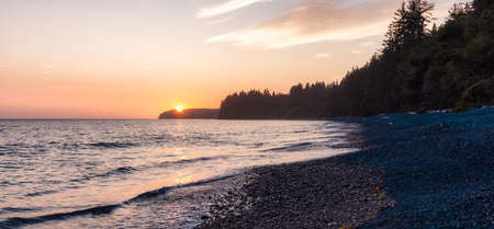 Sandcut Beach on the West Coast of Pacific Ocean. Summer Sunny Sunset. Canadian Nature Landscape Background. Located near Victoria, Vancouver Island, BC, Canada.