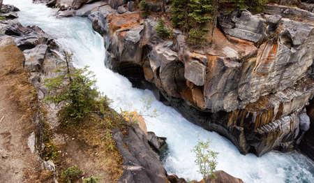Fresh Water rushing in a canyon. Canadian Nature Background. Kootenay National Park, British Columbia, Canada.