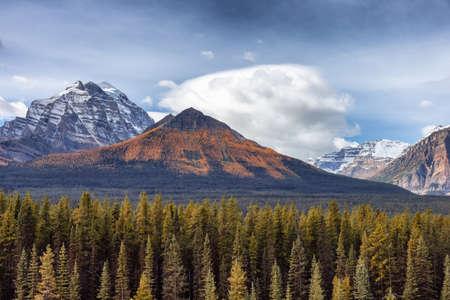 Canadian Rocky Mountain Landscape. Fall Season Cloudy Sunny Sky. Lake Louise, Banff National Park, Alberta, Canada.