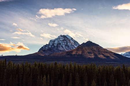Canadian Rocky Mountain Landscape. Fall Season Sunset Sky. Lake Louise, Banff National Park, Alberta, Canada.