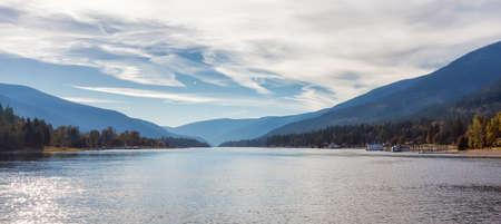 Scenic View of Kootenay River. Sunny Fall Season Day. Located in Balfour near Nelson, British Columbia, Canada.