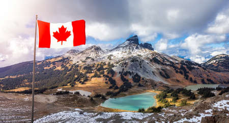 Canadian National Flag Composite. Nature landscape in mountains. Garibaldi Provincial Park, located near Whistler and Squamish, North of Vancouver, BC, Canada.