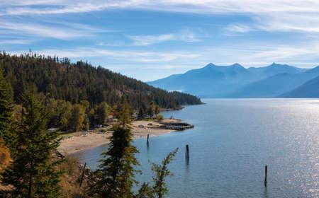 Scenic View of Kootenay Lake. Sunny Fall Season Day. Near Nelson, British Columbia, Canada.