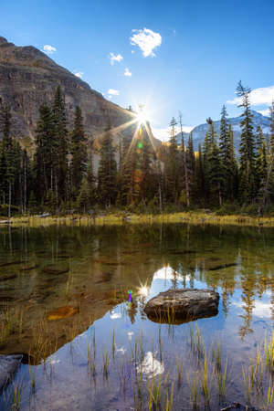 Scenic View of Glacier Lake with Canadian Rocky Mountains in Background. Sunny Fall Sunset. Located in Lake OHara, Yoho National Park, British Columbia, Canada.