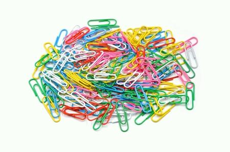 many paperclips colorful on a white background Reklamní fotografie