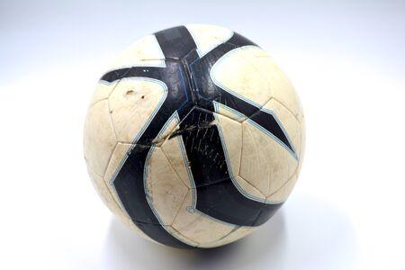 Voetbal dichte omhooggaand op een witte foto als achtergrond