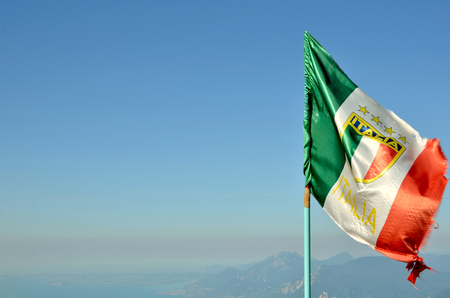 flag italy blow in the wind close up photo Stock Photo