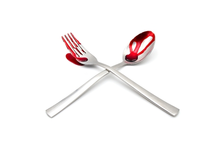 enema: fork and spoon with blood on white background