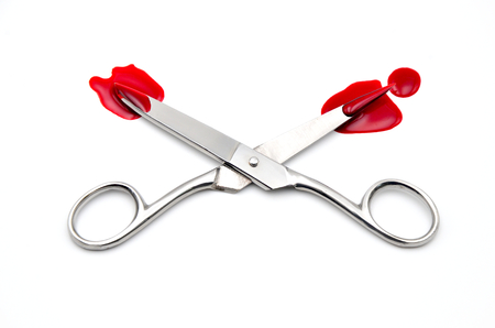 eliminate: scissors with blood on a white background