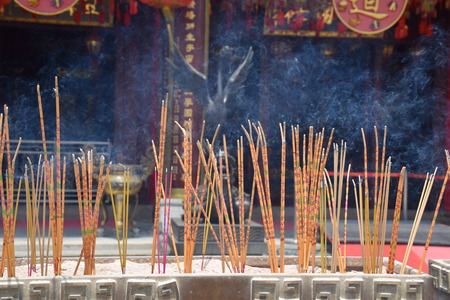 sin: Incense sticks burning in Wong Tai Sin temple, Hong Kong Editorial