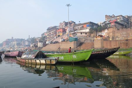pradesh: Boats floating on river Ganga, Varanasi, Uttar Pradesh, India Editorial