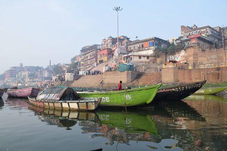 benares: Boats floating on river Ganga, Varanasi, Uttar Pradesh, India Editorial