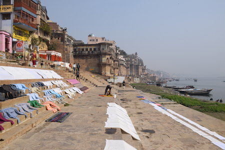 benares: View from the ghats of Varanasi, Uttar Pradesh, India Editorial