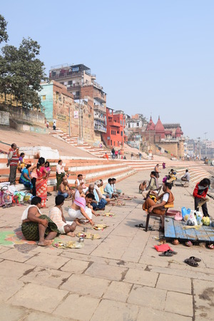 uttar pradesh: Indian people doing different activities on the ghats of Varanasi, Uttar Pradesh, India